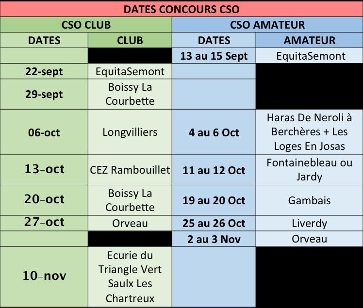 Planning concours CSO de sept à Nov
